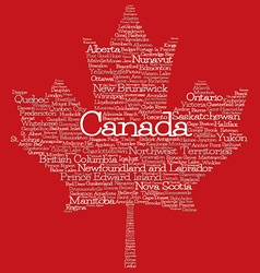 Maple leaf mad of cities and states of canada in vector