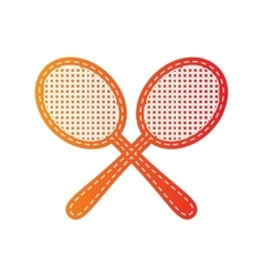 Tennis racquets sign orange applique isolated vector