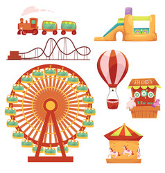 amusement park set cartoon vector image