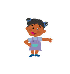 Cartoon character black girl showing vector