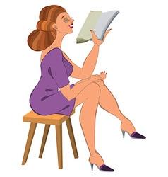 Cartoon woman in green dress reading vector