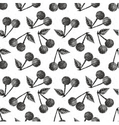 cherries hand drawn seamless pattern fruits vector image vector image