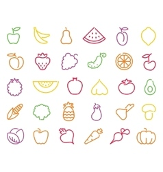 Contour icons of vegetables and fruit vector image vector image