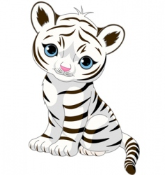 Cute white tiger cub vector
