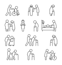 Disabled nursing and healthcare icons vector