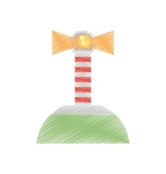 Drawing lighthouse island sea navegation signal vector