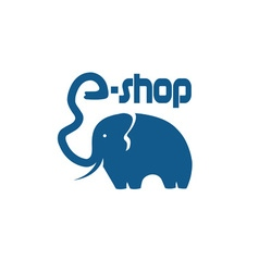 Elephant with trunk in the form of a letter vector