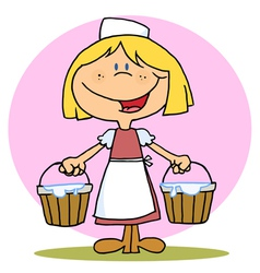 Friendly Blonde Maid Carrying Milk Buckets vector image