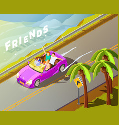 Friends riding car isometric travel poster vector