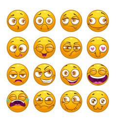 funny comic cartoon yellow smiley faces set vector image