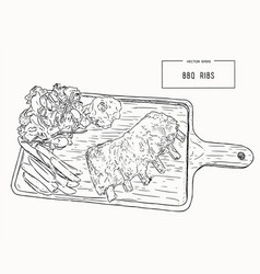 Grilled spare ribs vector
