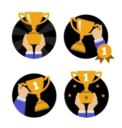 Hand holding golden trophy vector image