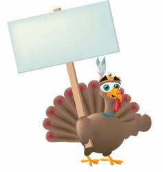 Indian turkey with sign vector image vector image