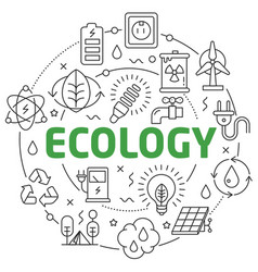 line flat circle ecology vector image vector image
