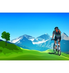 Man cyclist traveling on Alps vector image