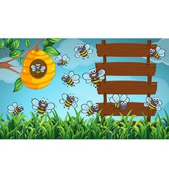 Many bees flying in garden with signs vector