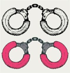 Pink handcuffs vector image vector image