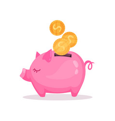 pink piggy bank with falling golden coins saving vector image