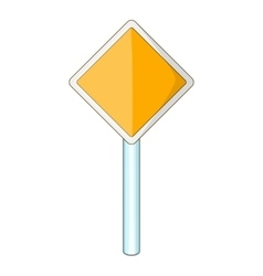 Priority road sign icon cartoon style vector