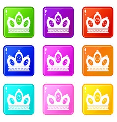 Queen crown icons 9 set vector