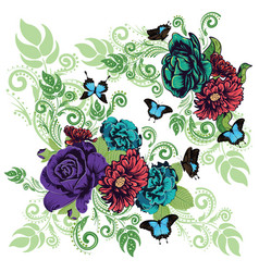 Roses and butterflies ornament vector