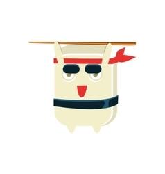 Samurai training funny maki sushi character vector