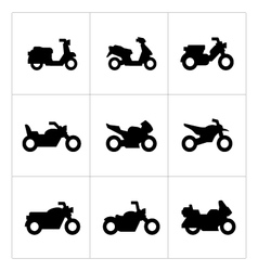 Set icons of motorcycles vector