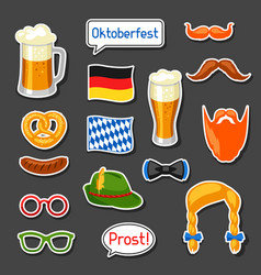 Set of oktoberfest photo booth stickers vector