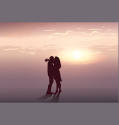 Silhouette romantic couple embrace at sunset vector