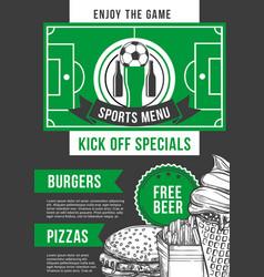 Soccer sport bar football pub menu design vector