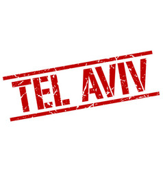 Tel aviv red square stamp vector
