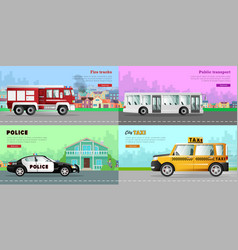 Transport collection of four automobile pictures vector