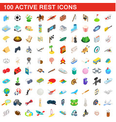 100 active rest icons set isometric 3d style vector image