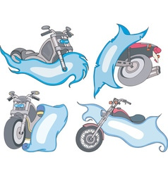 Motorbike templates with blue ribbons vector