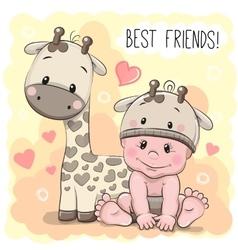 Cute Cartoon Baby and giraffe vector image