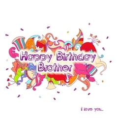 Birthday greeting card design with doodle flowers vector