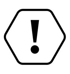 Black hexagon exclamation mark icon warning sign vector