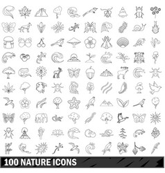 100 nature icons set outline style vector image