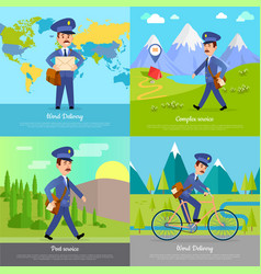 World delivery banner postman mailman on bicycle vector