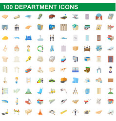 100 department icons set cartoon style vector image