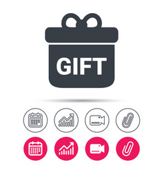 Gift icon present box with bow sign vector