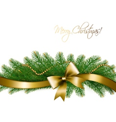 Christmas background with christmas tree branches vector