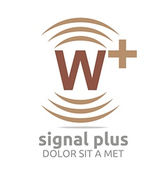 Logo signal letter w plus brown alphabet wireless vector