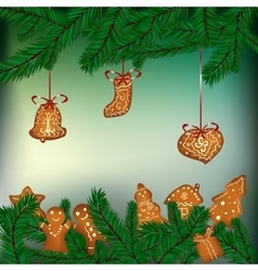 Christmas background with hanging gingerbreads vector