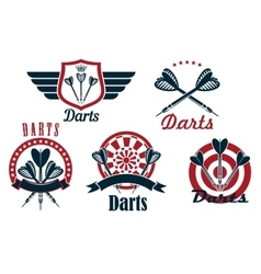Darts game sporting emblems and icons vector