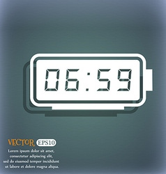 alarm clock icon On the blue-green abstract vector image