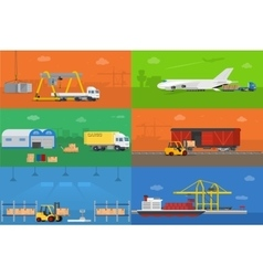 Logistics warehouse freight cargo transportation vector