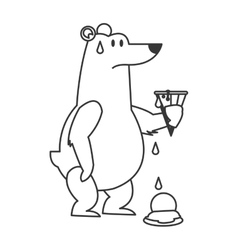 Polar bear holding melted ice cream icon vector