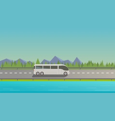 Touristic white bus vector