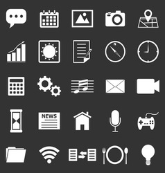 Application icons on black background vector image